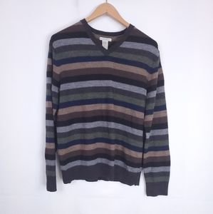 Gap Italian Merino Wool Stripe V Neck
